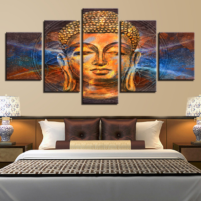 Canvas Pictures Home Decor Wall Art 5 Pieces Lord Radaha Krishna Paintings HD Prints Divine Couple Posters Living Room Framework