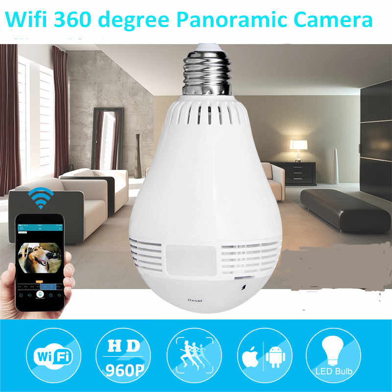 960P Wireless Panoramic IP 3D VR Camera WIFI Bulb Light FishEye Surveillance 180/ 360 Degree CCTV Home Security Mini Cam Wi-Fi
