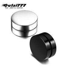 oulai777 wholesale stainless steel women men black earrings silver Magnetic jewelry punk False  fashion friend Gothic