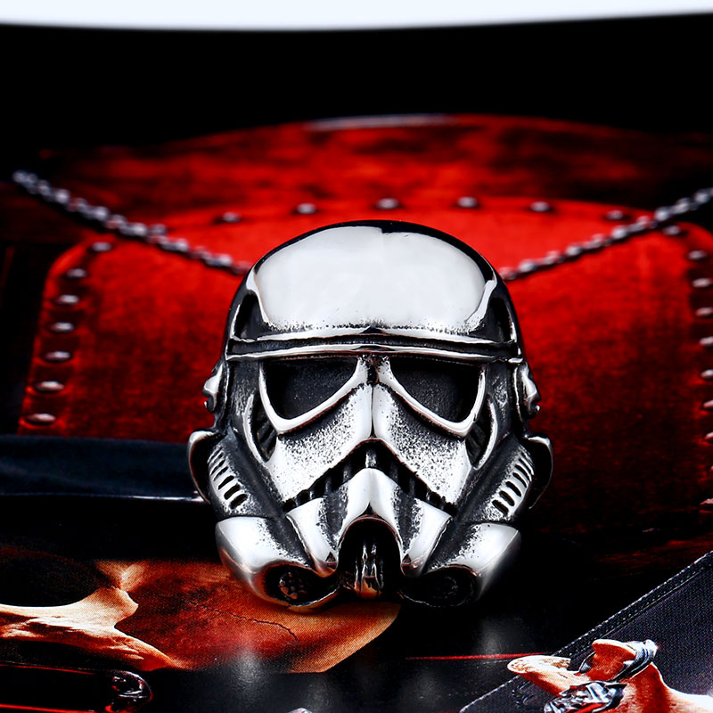 Beier new store 316L Stainless Steel ring top quality New Star Wars storm trooper Mask ring fashion jewelry LLBR8-264R