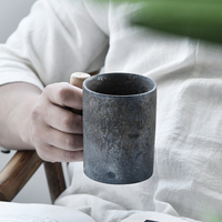 300cc Vintage Rust Glaze Ceramic Coarse Pottery Mug with Wooden Handgrip Office Milk Coffee Cup with Wooden Spoon Kit Drinkware