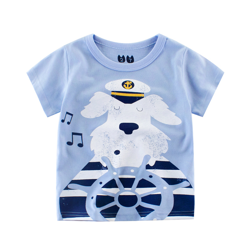 VIMIKID children summer clothing baby boy T shirt cotton dog navy short sleeve T-shirt kid boy casual sport T-shirt 2-7Y shirts 6