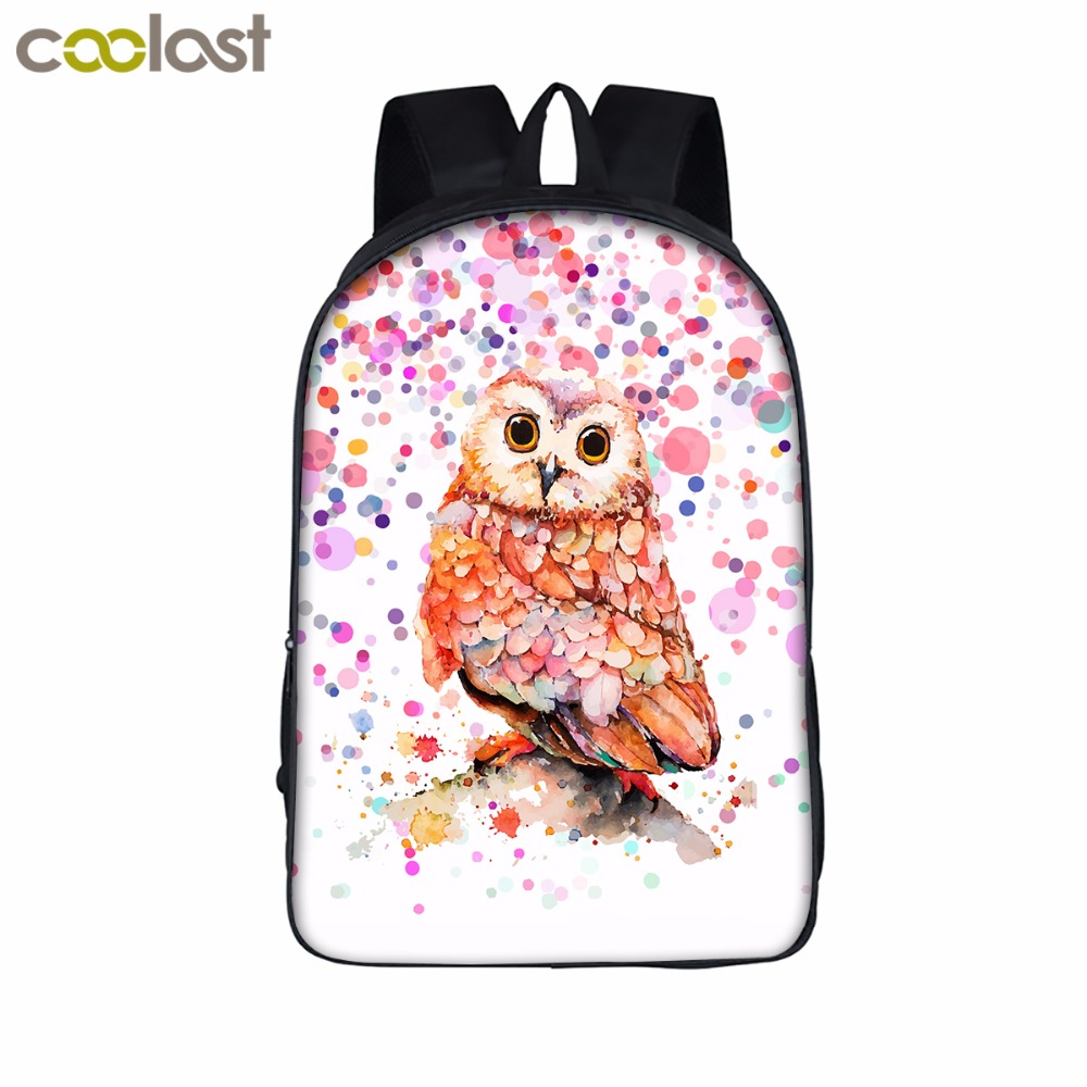 16 inch Cartoon Owl Student Backpack Cute Animal Print School Bag For Teenager Women Men Laptop Backpack Boys Girls Travel Bags wolf women backpack boys girls daypack cartoon animal children school bags students kindergarten backpack laptop men travel bag