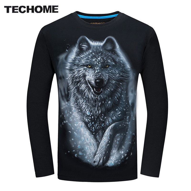 Top Casual lunga New 3d Cotton Snow T shirt manica T Uomo Wolf shirt QdhrCts