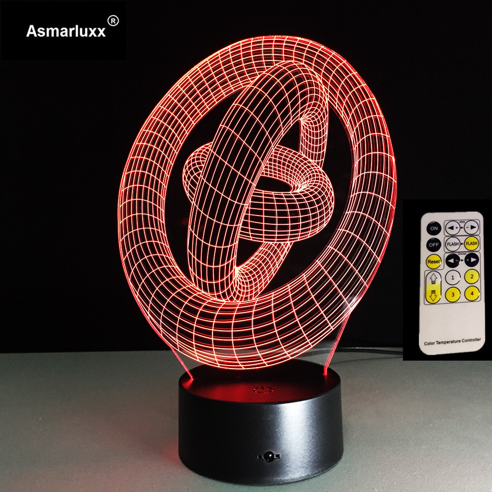 3D Optical Illusion LED Table Night Light Remote Touch Control USB Cable Battery Operated Desk Lamp Decorations Circle Rings