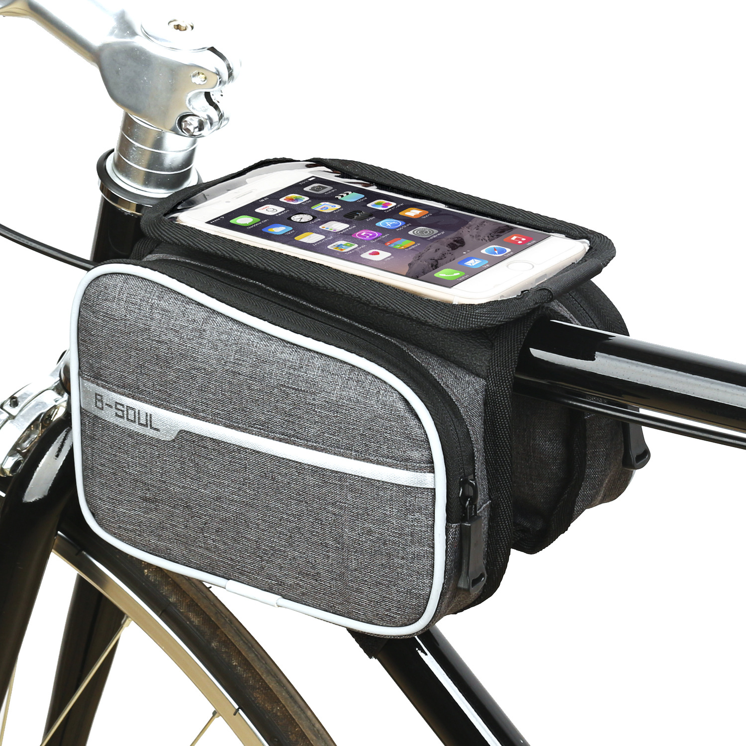 Bicycle Top Tube Frame Bag with Phone Pouch for Pannier Bike
