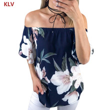 Womens Summer Off Shoulder Floral Print  Tops Casual Ruffle Shirt