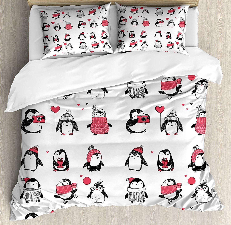 Зимнее постельное виде милого пингвинчика рисованной Стиль набор с Рождеством для малышей; костюмы для детей ясельного возраста 4 комплект постельного белья