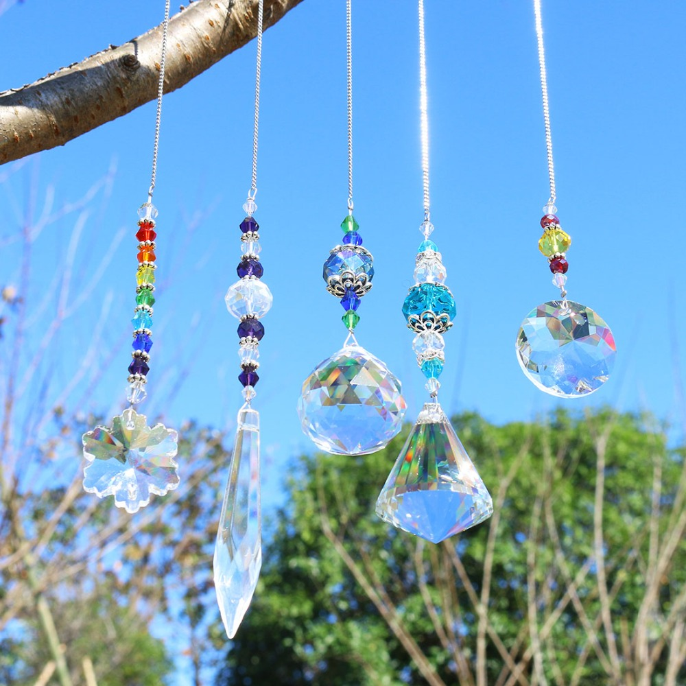 H&D Chandelier Suncatchers Prisms Glass Rainbow Maker Chakra Hanging Suncatcher Window Sun Catcher Gift,Pack Of 5