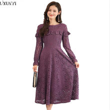 330a434b208 LXUNYI M-5XL Long Sleeve Slim Lace Dress Women Vintage Plus Size Dresses  Elegant Korean
