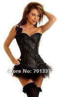 wholesale Sexy Lingerie Women's Fancy Dress Black Satin Lace Up Basque Corset Separate Tutu G839