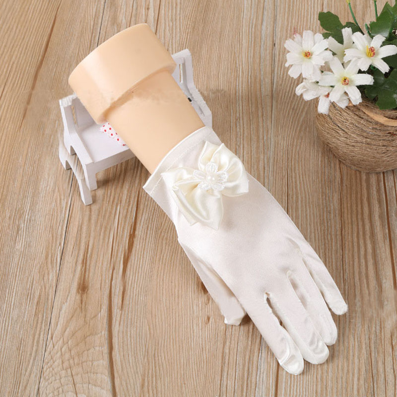 Kids Satin Bowknot Formal Gloves Girls Princess Costume For Performance Party Fancy Dress Christmas Navidad