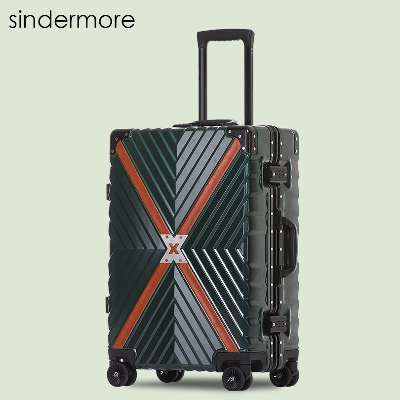 Sindermore 20 24 26 29 Aluminum Frame Carry On Rolling Hardside Trolley Travel Luggage Suitcase Cabin Luggage Suitcase vintage suitcase 20 26 pu leather travel suitcase scratch resistant rolling luggage bags suitcase with tsa lock