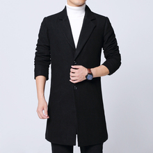 Spring New Arrive Overcoat male Fashion Bussiness Casual Men long coat wool Plus Black Woolen cloth coat