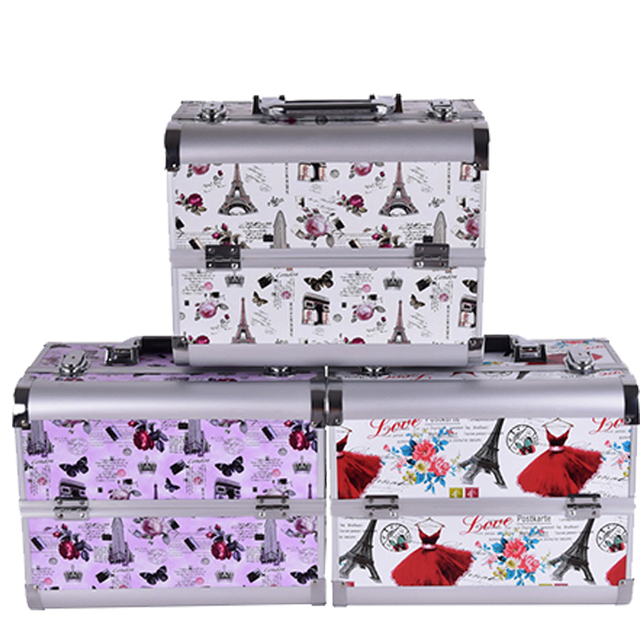 2016 Hot professional Aluminium tower Make up Box Makeup Case Beauty Case Cosmetic Bag Multi Tiers Lockable Jewelry Box for gift