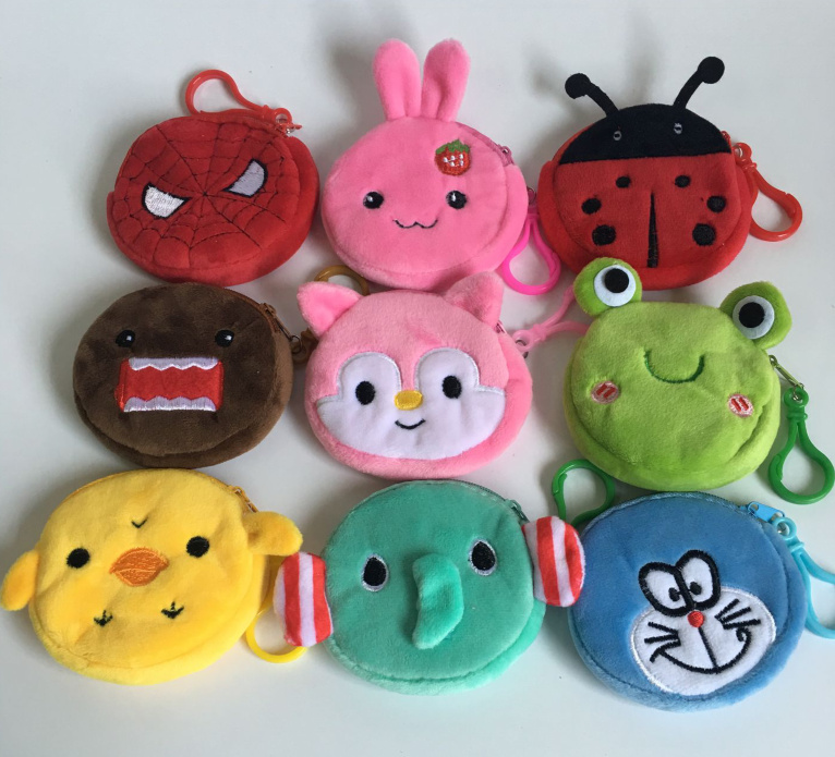 Up 20models Popular New Gift Coin Bag Cute Wallet Plush Coin Purse Gift Mini Key Hook Coin Bag Pouch 8cm Approx