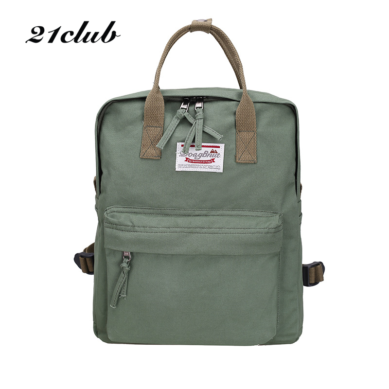21club Brand Women Canvas School Student Solid Rucksack High Quality Ladies Preppy Style Shoulder Bag Shopping Medium Backpack