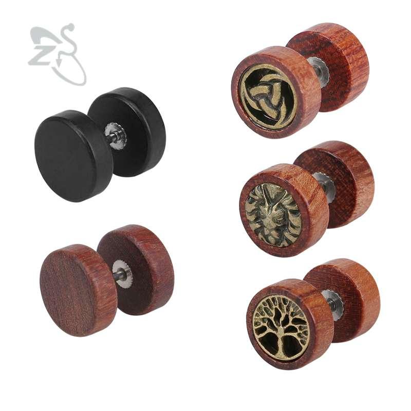 ZS 10mm Stud Earrings for Women Men brincos Wooden Ear Studs Earrings Black Brown Stainless Steel Earrings pendientes mujer moda