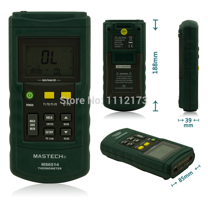 MS6514 Dual Channel Digital Thermometer Temperature Logger Tester USB Interface 1000 Sets Data KJTERSN Thermocouple With Box ms6514 dual channel digital thermometer temperature logger tester usb interface 1000 sets data kjtersn thermocouple with box