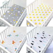 100% Cotton Bed Linen Crib Fitted Sheet Soft Baby Bed Mattress Cover Cartoon Print Newborn Bedding For Cot Fitted Sheet