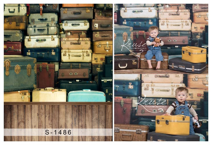 Custom vinyl doek retro reiskoffer wppd vloer fotografie