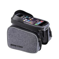 Bicycle 6.0 Inch Double Pouch Bag Touch Screen Waterproof Mountain Top Tube Bike Bag Rainproof Phone Holder Case for iPhone X