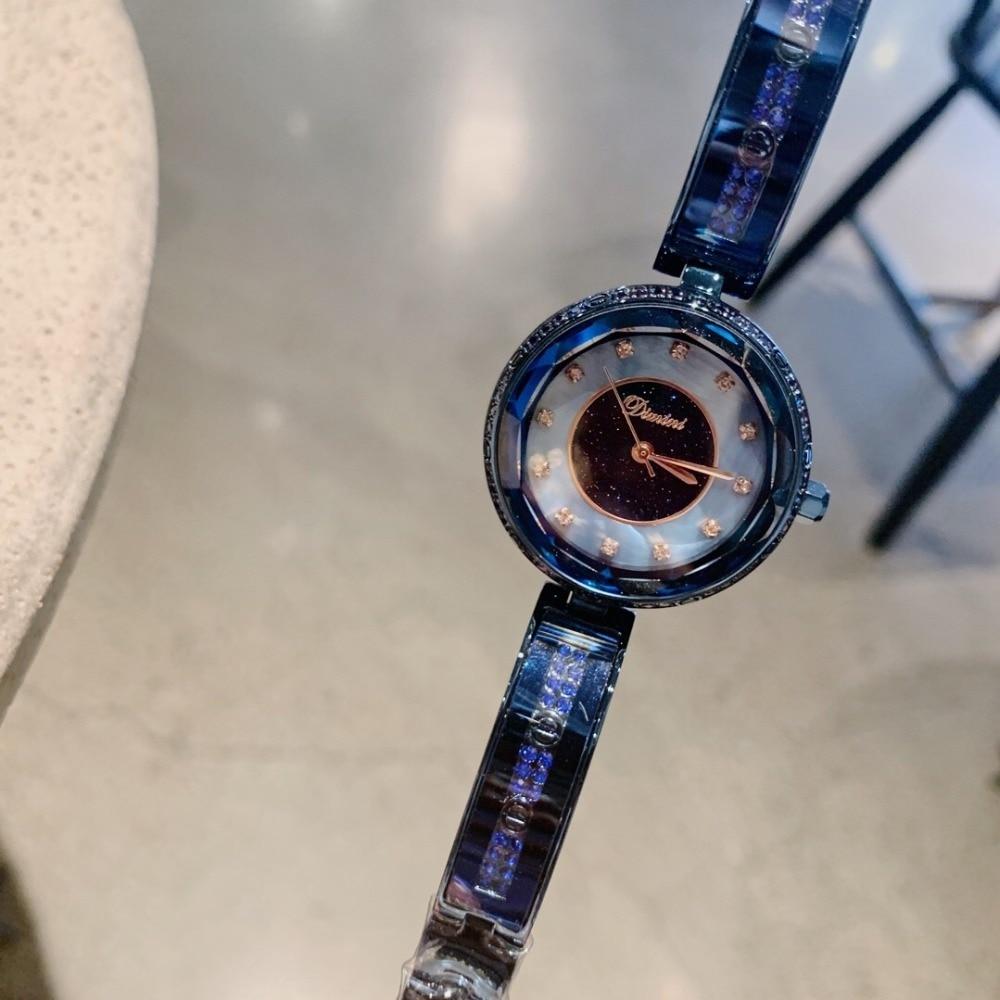 Luxe Anti décoloration Noble bleu Bracelet montres pour femmes élégant mode Bracelet montre Quartz à facettes verre cristal montre-Bracelet