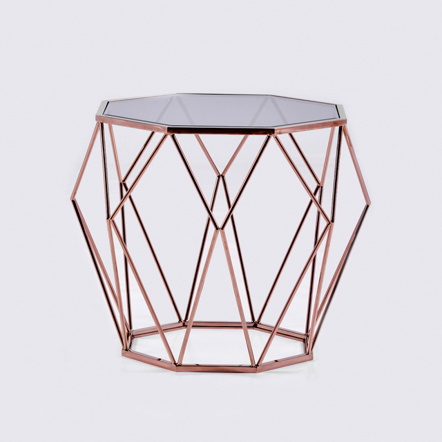 Goolee High Class Ornate Modern Metal Coffee Table With Glass Top