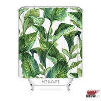 [MIAOJI] Lush Giant Green Plant Leaves Fabric Shower Curtain Bathroom decor various sizes Free Shipping