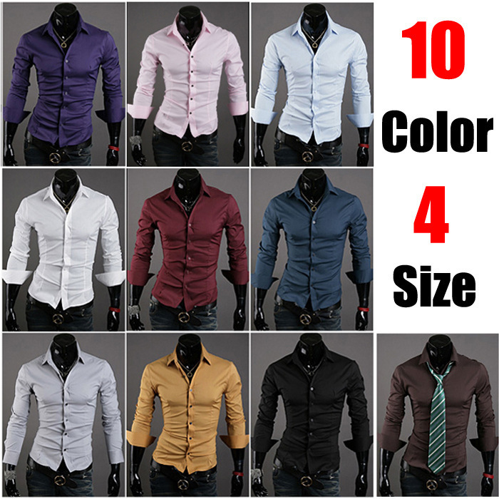 10 New Special VSKA Solid Color Men's Wild Slim Casual Long-sleeved Shirt 5922