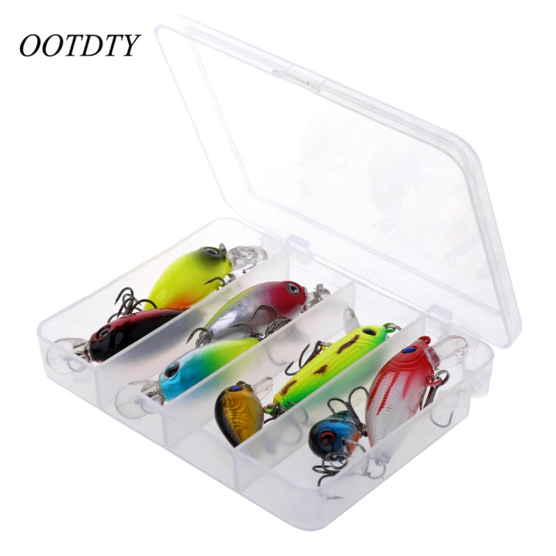 8pcs/lot Fishing Lure 3D Eyes Carp Artificial Bait Wobbler Fish Minnow Bass Lure Crankbait Trout Tackle Hook #Q39E# wldslure 1pc 54g minnow sea fishing crankbait bass hard bait tuna lures wobbler trolling lure treble hook