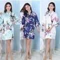 Satén de seda de la boda de dama Robe albornoz Floral corto Kimono bata bata de noche Bath Robe moda bata para mujeres