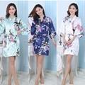 Silk Satin Wedding Bride Bridesmaid Robe Floral Bathrobe Short Kimono Robe Night Robe Bath Robe Fashion Dressing Gown For Women
