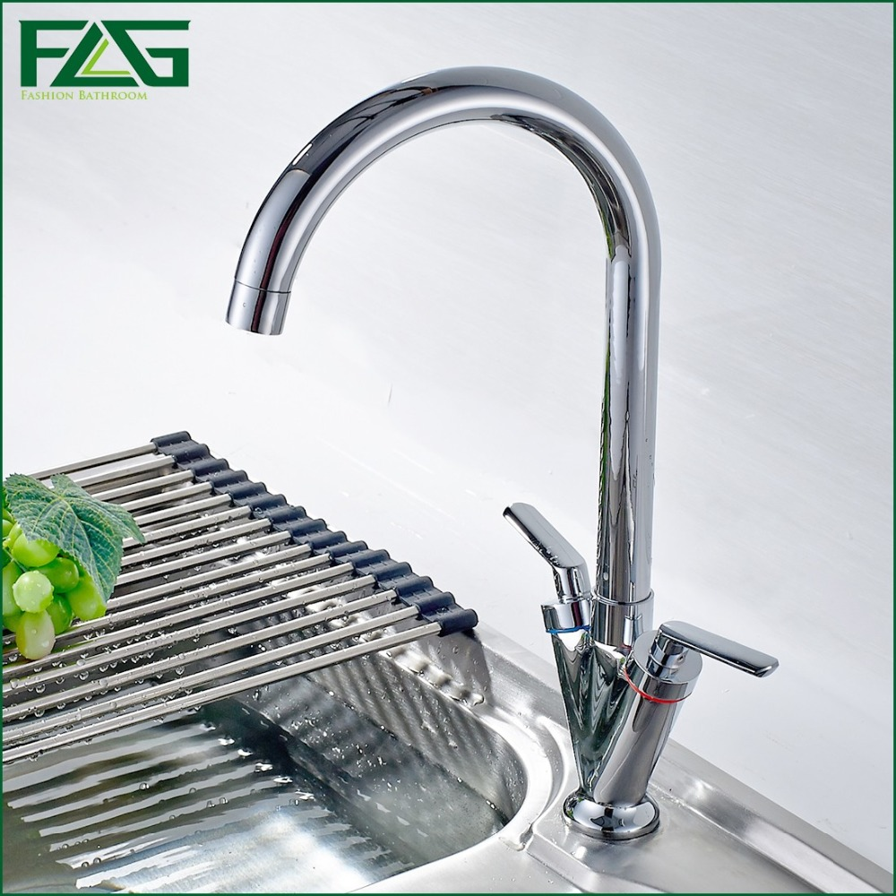 ФОТО FLG Factory Direct Sale Kitchen Faucet Chrome Cast Dual Handle 360 Degree Rotating Cold & Hot Water Tap Kitchen Sink Mixer C054