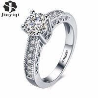 2016 New Fashion Women Wedding Rings White Gold Engagement Rings For Women CZ Diamond Prong Promised