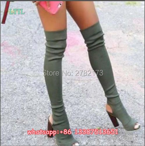 ФОТО Women Stretch Suede Leather Knit Slim Thigh High Boots Sexy Fashion Over the Knee Boots High Heels Woman Shoes Peep Toe Pumps