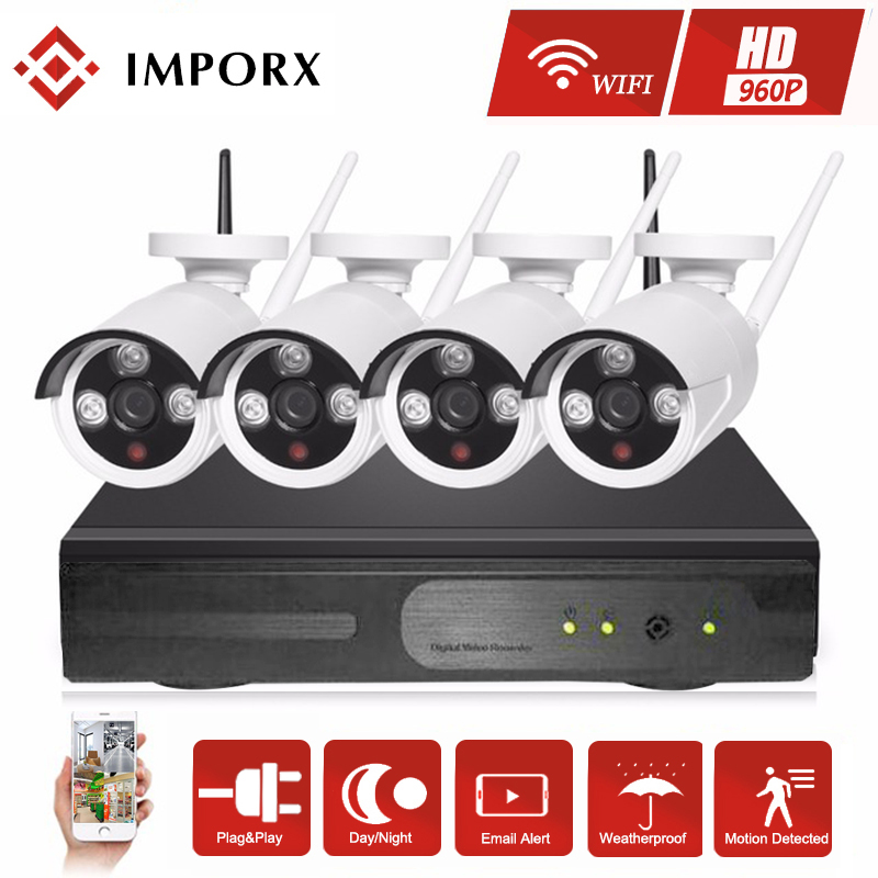 IMPORX 4CH 960P Home Security Wifi CCTV System Wireless NVR Kit 1.3MP Outdoor Waterproof IP Camera P2P Video Surveillance Set image