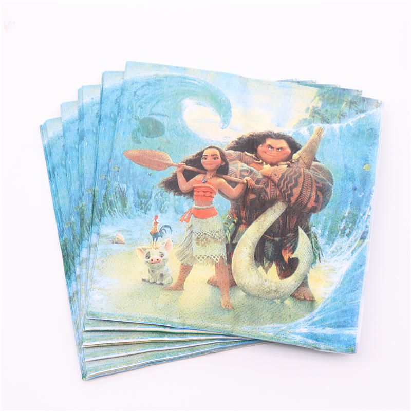 20Pcs/Lot Moana Girl Boy Party Supplies Napkin Paper Disposable Tableware Birthday Wedding Party Decoration Baby Shower