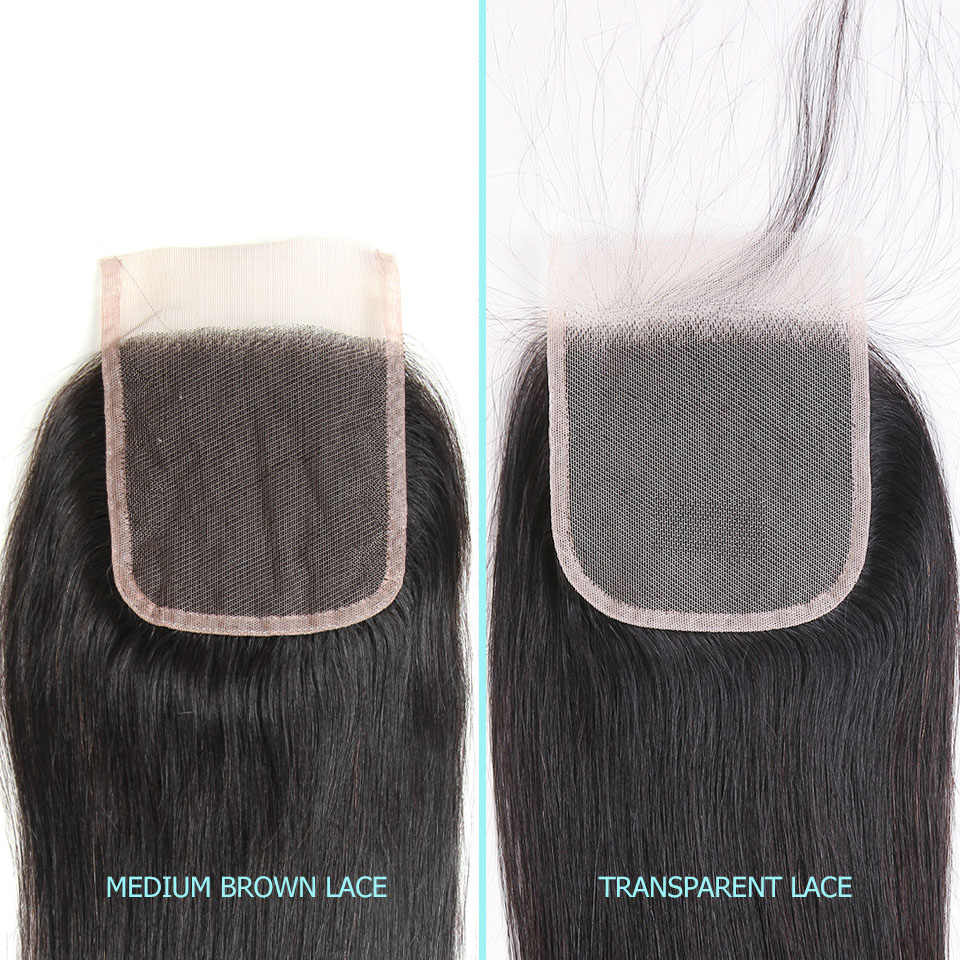 Ali graça cabelo malaio sedoso em linha reta 3 pacotes de cabelo humano com fechamento do laço 4*4 parte do meio livre cor natural remy cabelo