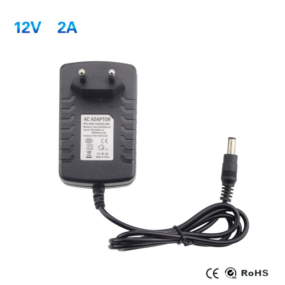 AC 100-240V to DC 12V 2A EU Plug Power Supply Adapter Charger for 5050 LED Light