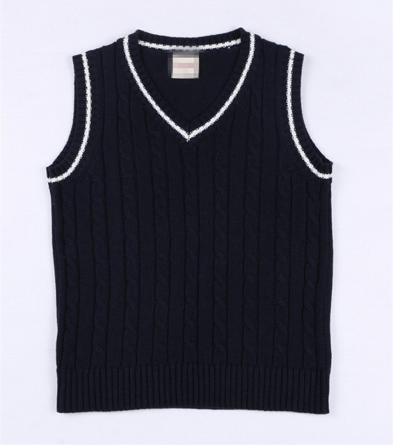 650439e79 5 12 Years Old College Style Kids Knitted Vest Solid V neck ...