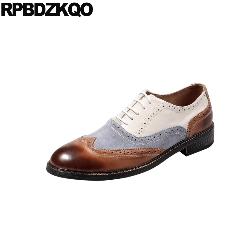 genuine leather 2018 new men flats wedding italian wingtip oxfords european patchwork shoes Italy lace up brogue party dress hot
