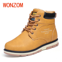 WONZOM Winter Men Anti Skid Solid Snow Boots Fur Thermal Fashion Casual Martin Botas Brand Super