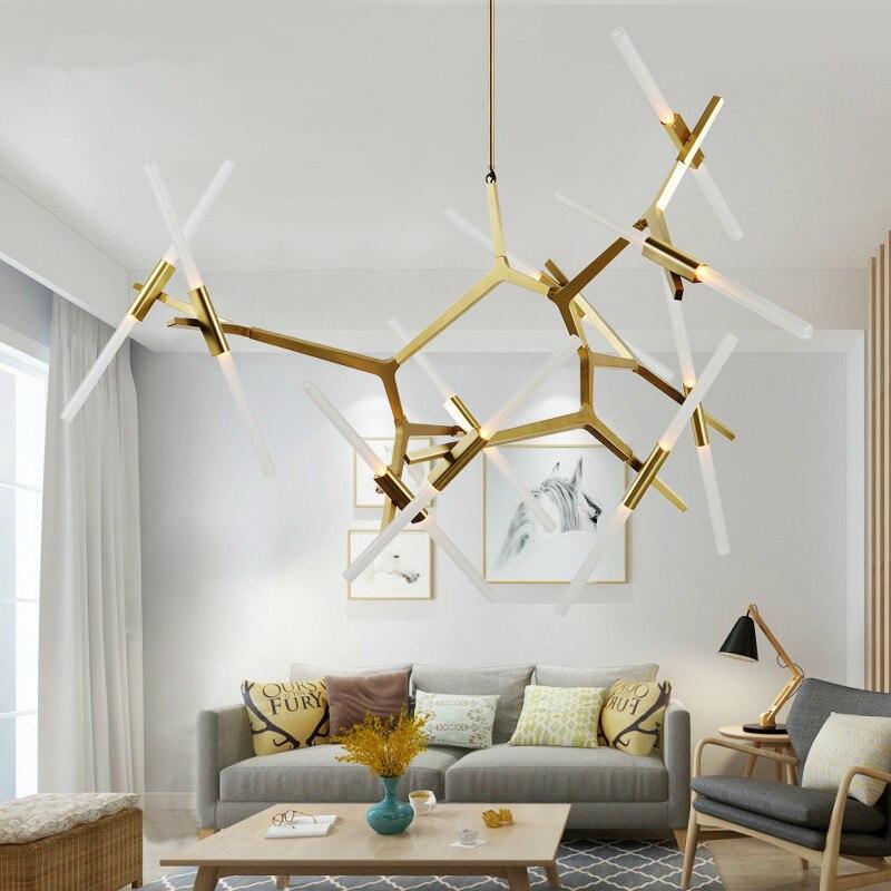 где купить modern Nordic Roll&Hill Agnes Lindsey  led herringbone branch pendant light restaurant Cafe bar Living room hanging lamp по лучшей цене