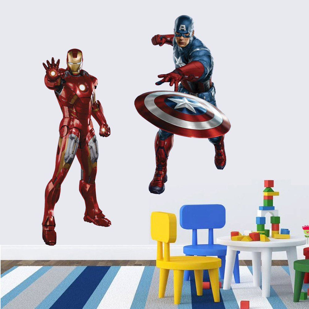 HTB1s44OcXHM8KJjSZJiq6zx3FXaV - 3D movie Marvel hero Hulk iron Man For Kids Room