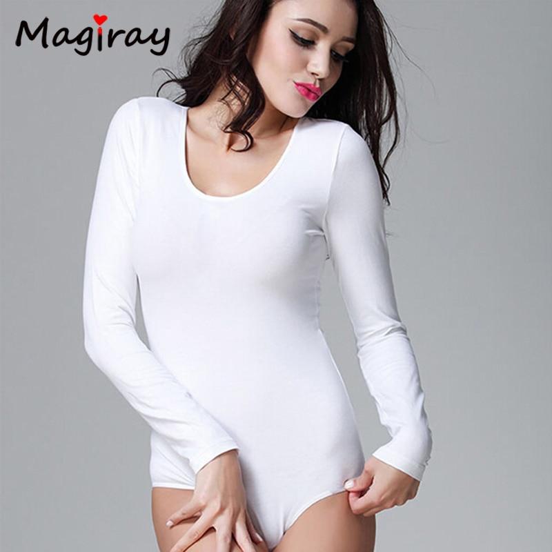 2019 roupas femininas Slimming Crew Neck Long Sleeve Open Crotch playsuit Bodysuit Basic Solid Color Body Shirt Women   jumpsuit