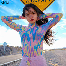 Kliou women turtleneck full sleeve bodysuits 2019 spring colorful Camouflage print sexy mesh see-through casual skinny rompers
