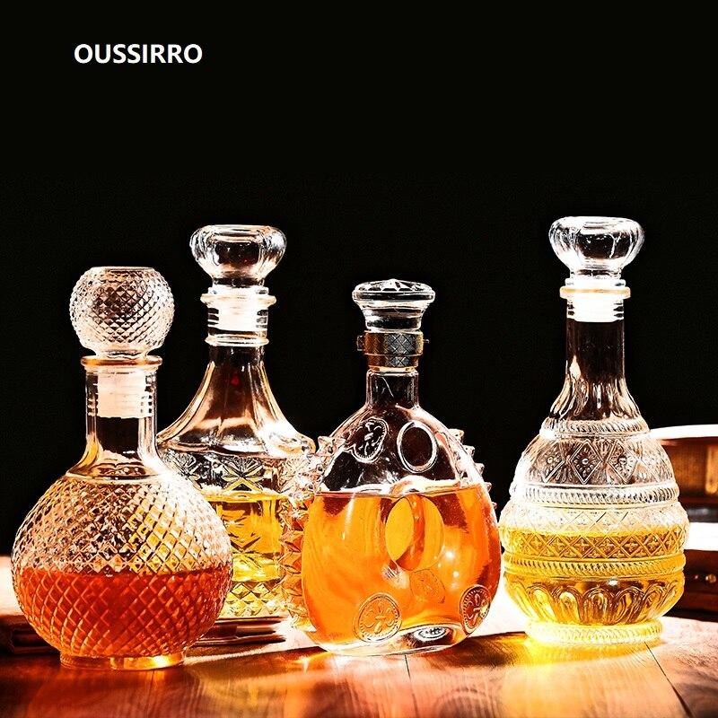 Oussirro whiskey decanter garrafa de uísque vidro cristal vinho cerveja recipientes garrafa de vidro copo de vidro barra casa ferramentas decoração
