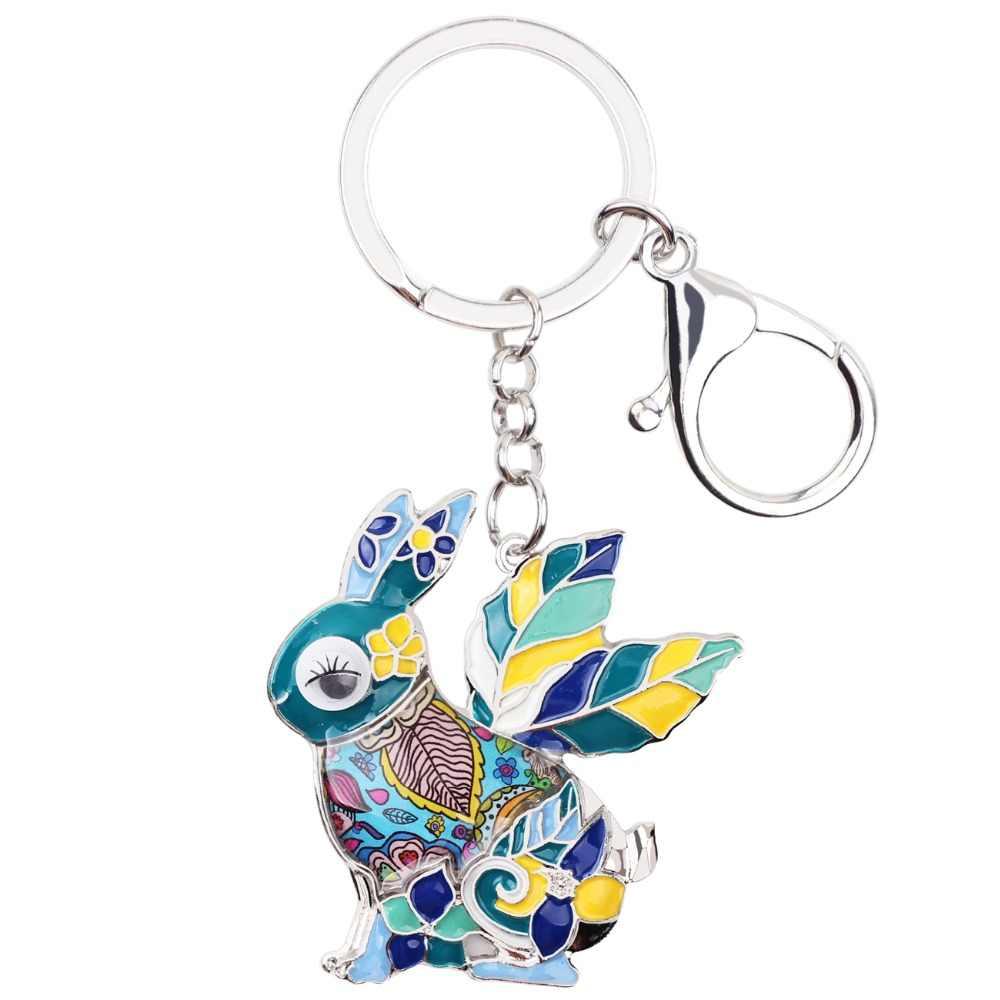 WEVENI เคลือบฟันกระต่ายกระต่าย Key Chain Key แหวนจี้ Charm น่ารักสัตว์อินเทรนด์เครื่องประดับพวงกุญแจ Drop Ship