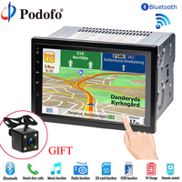 Podofo 2 Din Car Radio Player 7 LCD GPS Navigation Bluetooth Touch Multimedia 2din Car Audio